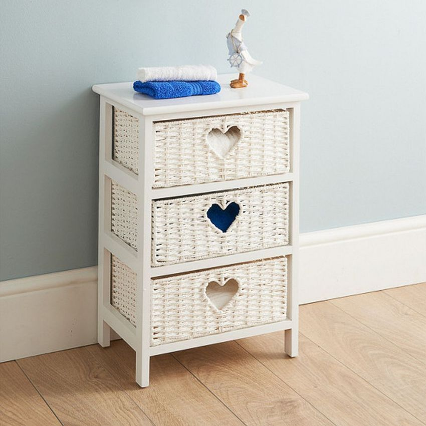 Cream Wicker Heart 3 Drawer Bedside Table Unit